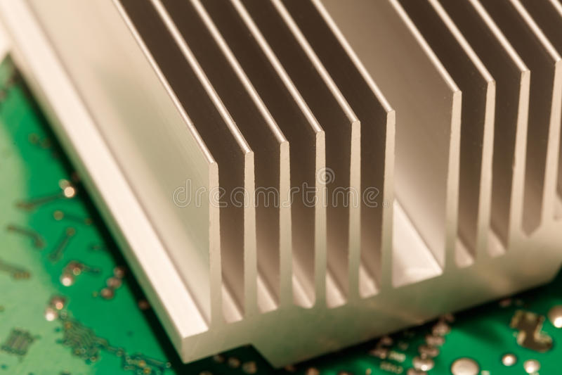 Chipset heatsink. Close up of a chipset heatsink on motherboard royalty free stock images