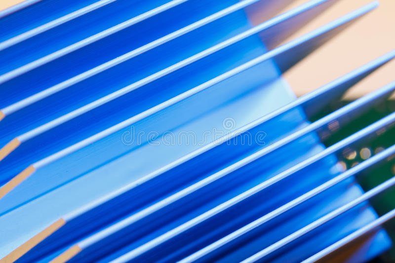 Chipset heatsink. Close up of a chipset heatsink on motherboard stock images