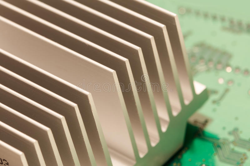 Chipset heatsink. Close up of a chipset heatsink on motherboard royalty free stock image