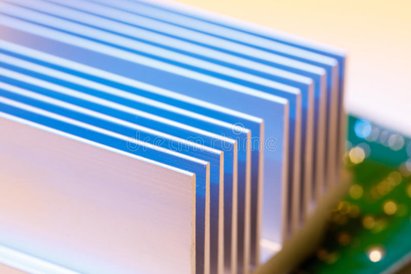 Chipset heatsink. Close up of a chipset heatsink on motherboard royalty free stock photography