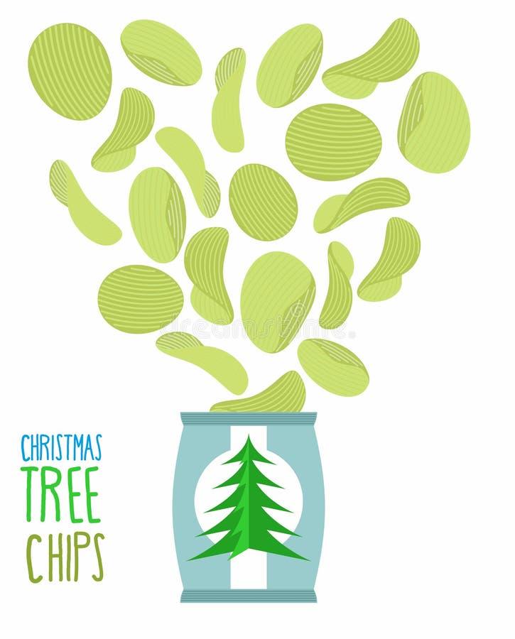 Chipssmaak van Kerstbomen Speciale spaanders voor nieuw y royalty-vrije illustratie