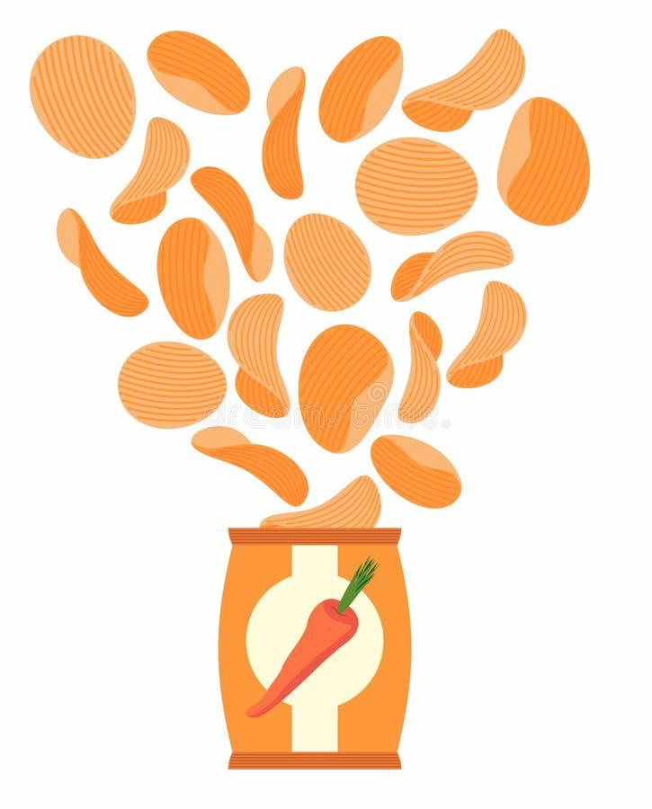 Chipssmaak zoals wortelen Verpakking, zak van spaanders op een wh stock illustratie