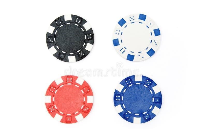 chipsy cztery pokera. fotografia stock
