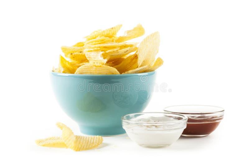 Chipsy i ketchupu majonez zdjęcia royalty free