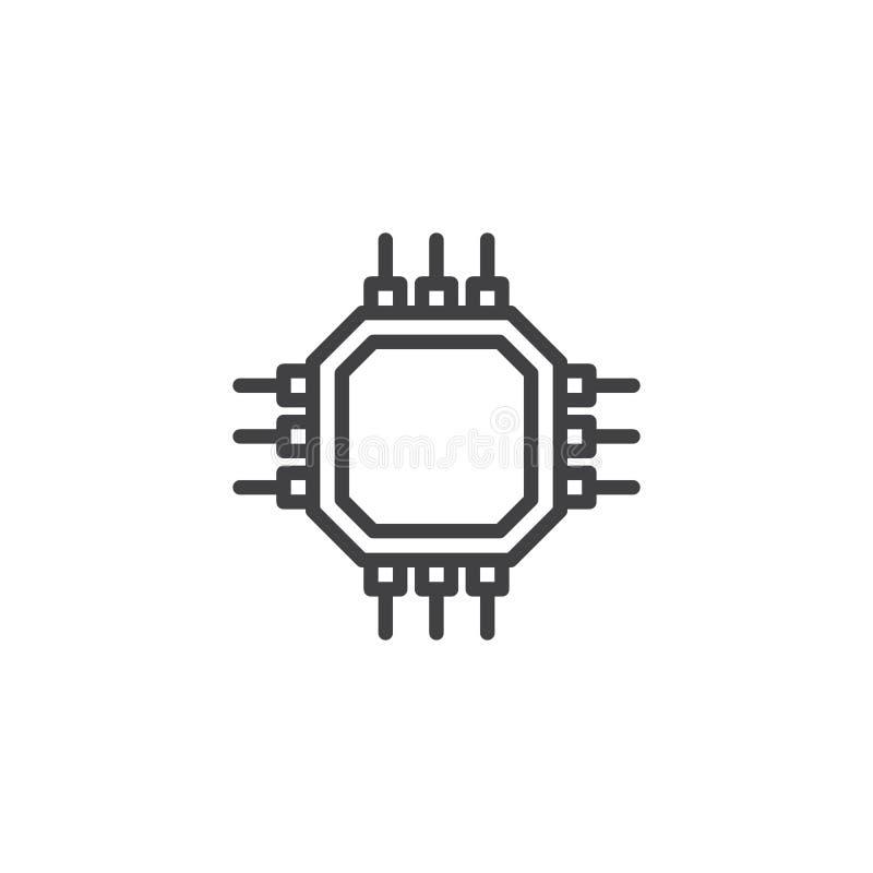 Chipu komputerowego mikroprocesoru linii ikona ilustracji
