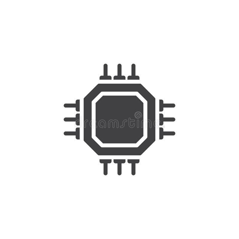 Chipu komputerowego mikroprocesoru wektoru ikona royalty ilustracja