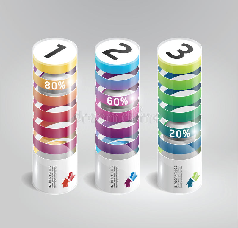 Chiqueiro cilíndrico moderno do projeto do molde de Infographic ilustração royalty free