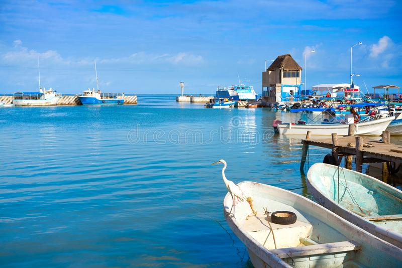 Chiquila port in Quintana Roo Mexico. Crossing ferry point to Holbox royalty free stock photo