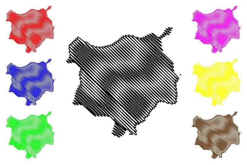 Chiquimula-Abteilung Republik Guatemala, Abteilungen der Guatemala-Kartenvektorillustration, Gekritzelskizze Chiquimula-Karte vektor abbildung