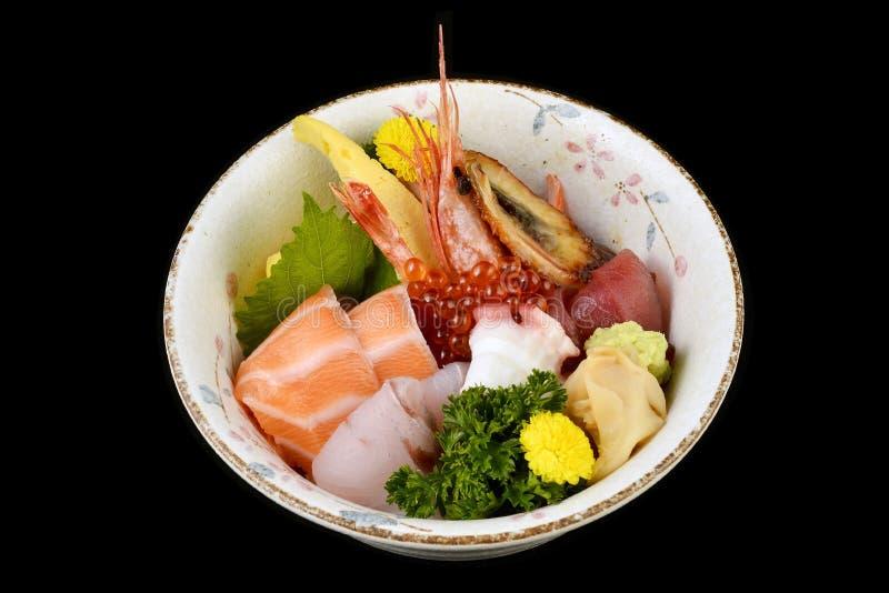Chirashi sashimi don or mixed fresh sea food on rice in ceramic of Japanese tradition cuisine food stock photos