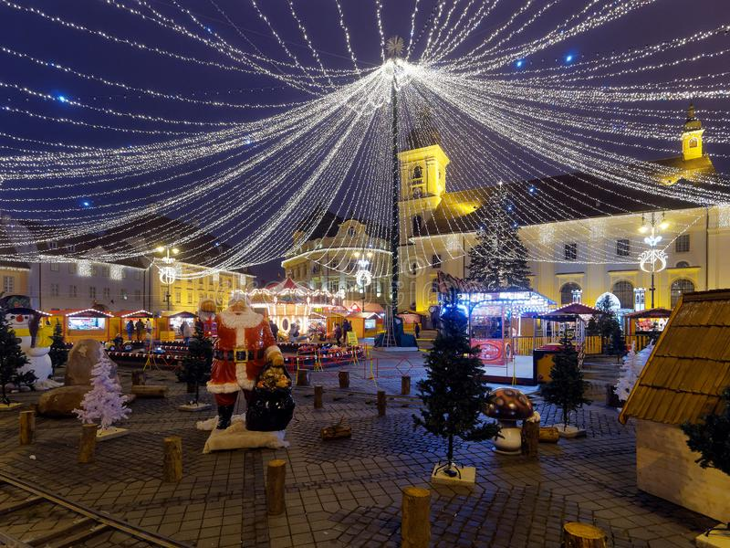 Chiristmas market in Sibiu, Romania. Sibiu, Sibiu / Romania - 12 09 2015: From the end of November until Christmas, Piata Mare in Sibiu transforms into a magical stock images