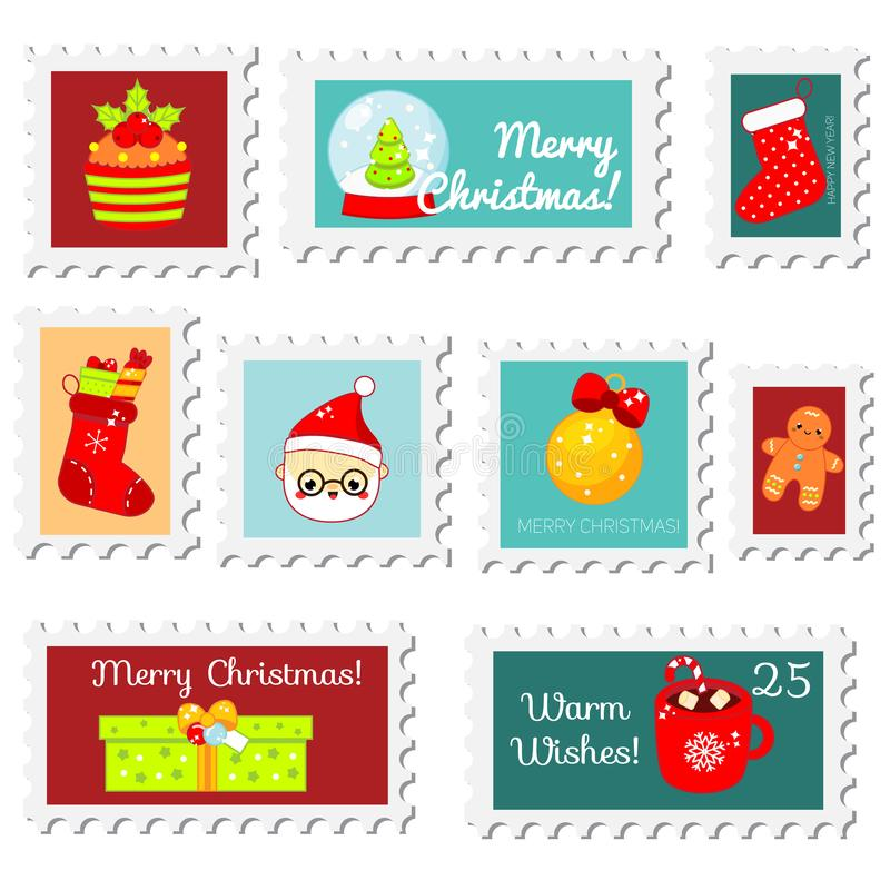 Chiristmas postal stamps. New year postage stamps with cute seasonal symbols. Vector collection vector illustration