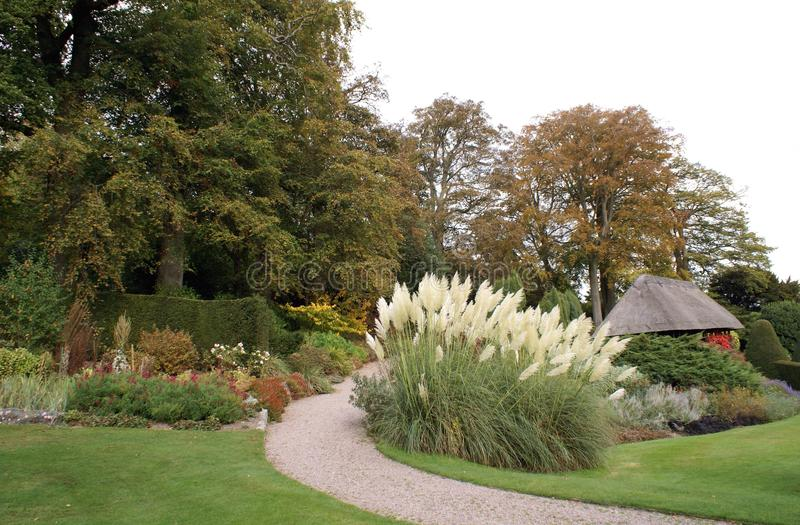 Chirk Castle garden in Autumn royalty free stock image