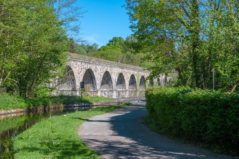 Chirk o viaduto e o aquaduct fotografia de stock