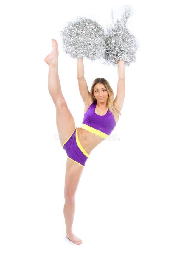 Chirliderka tancerz od cheerleading drużynowego doskakiwanie i tana obraz stock