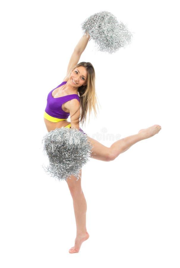 Chirliderka tancerz od cheerleading drużynowego doskakiwanie i tana obrazy stock