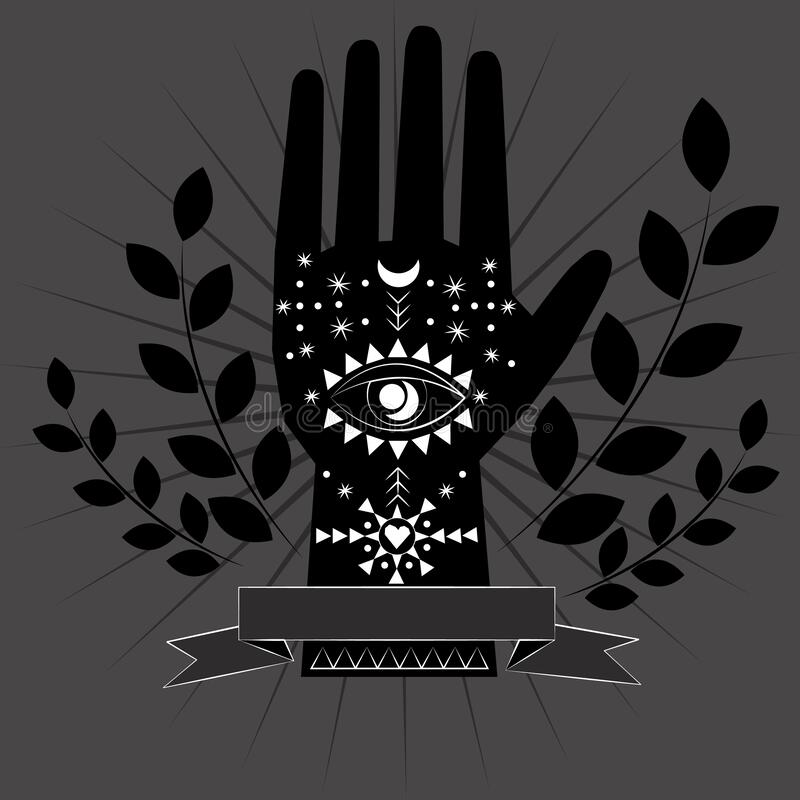 Chiromancy And Good Luck Charms Palmistry Graphic Design Evil Eye All Seeing Eye Third Eye Good Luck Poster Stock Vector Illustration Of Banner Astrology 173346218