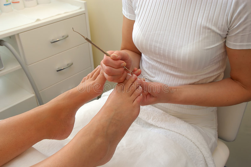 Chiropodist at work stock image