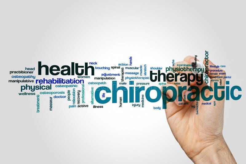 Chiropractic έννοια σύννεφων λέξης στο γκρίζο υπόβαθρο στοκ εικόνα