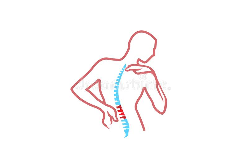 Chiropractic Body Pain Exercice Vector spine diagnostics symbol design Logo. Illustration stock illustration
