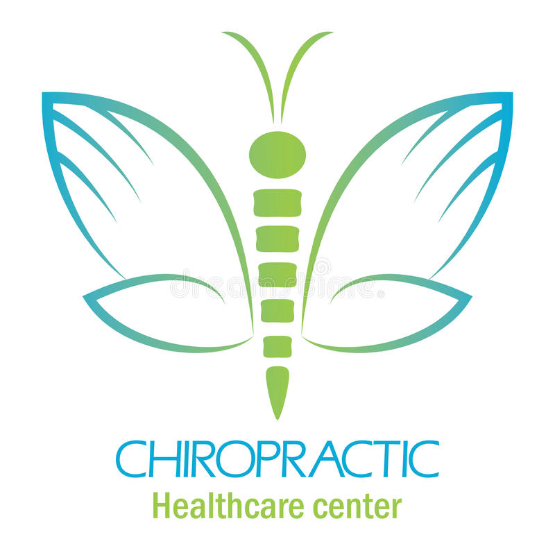 Chiropractic clinic logo with butterfly, symbol of hand and spin. E stock illustration