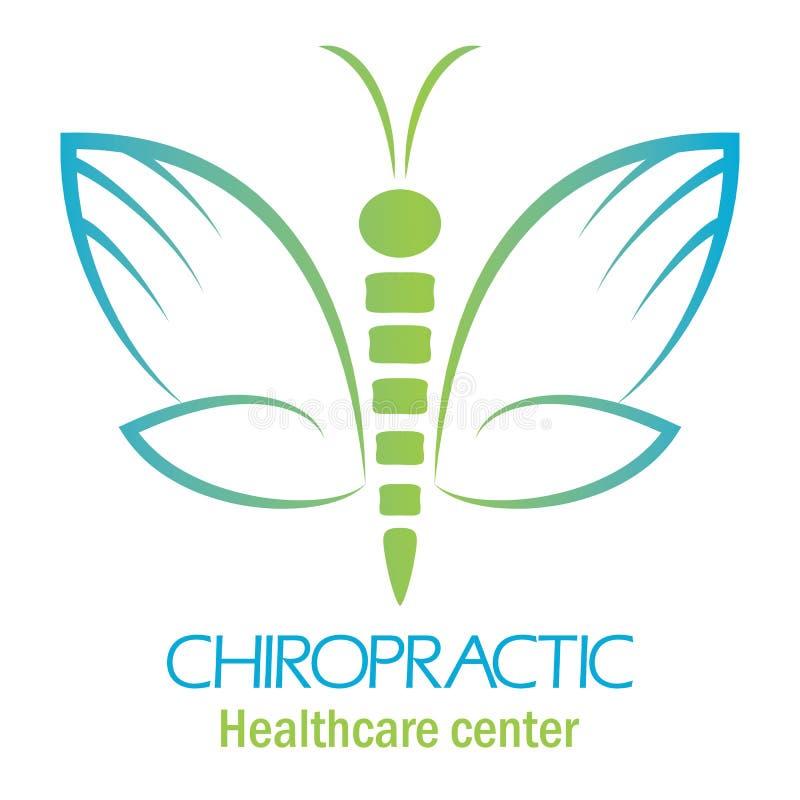 Chiropractic kliniki logo z motylem, symbol ręka i wir, ilustracji