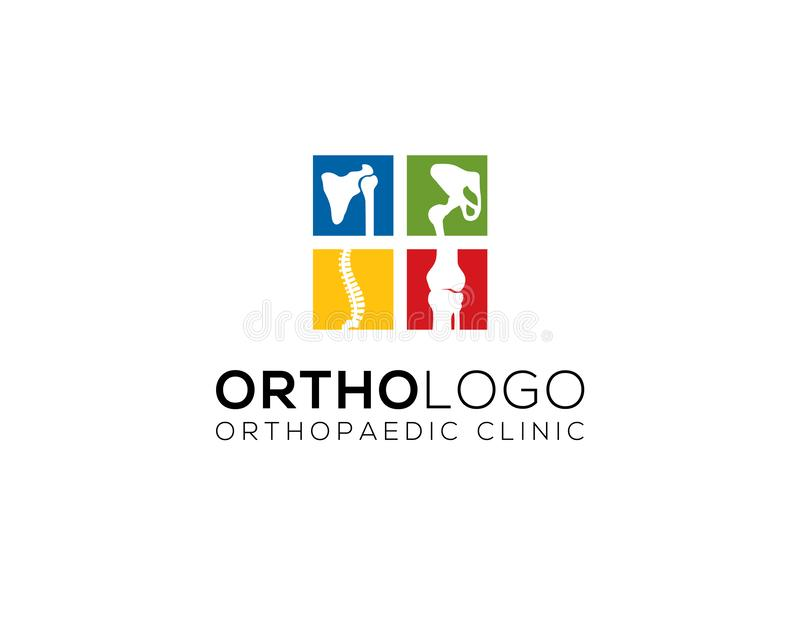 Chiropractic and orthopedic clinic logo. Four colorful little square of human bone joints for chiropractic and orthopedic clinic logo vector illustration