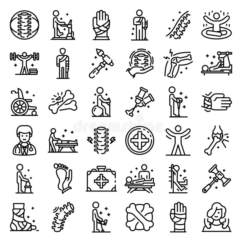 Chiropractor icons set, outline style stock illustration