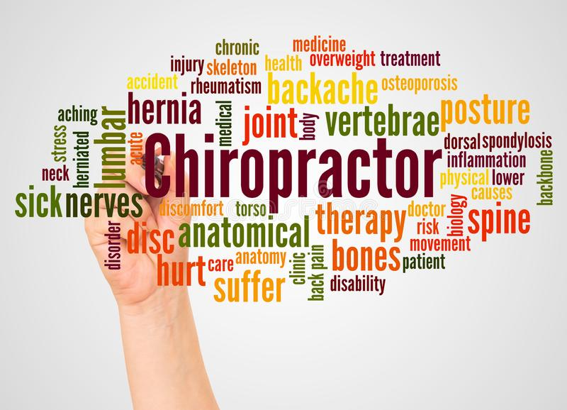 Chiropractor word cloud and hand with marker concept royalty free stock photos