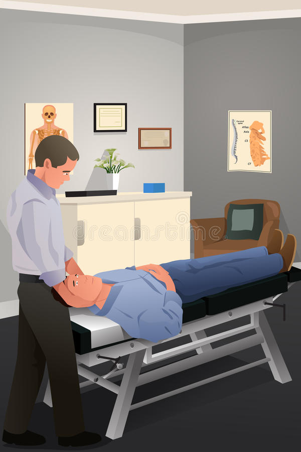 Chiroprakteur masculin soignant un patient illustration libre de droits