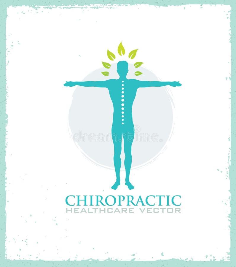 Chiroterapia, massaggio, dolore alla schiena ed icona di osteopatia illustrazione di stock