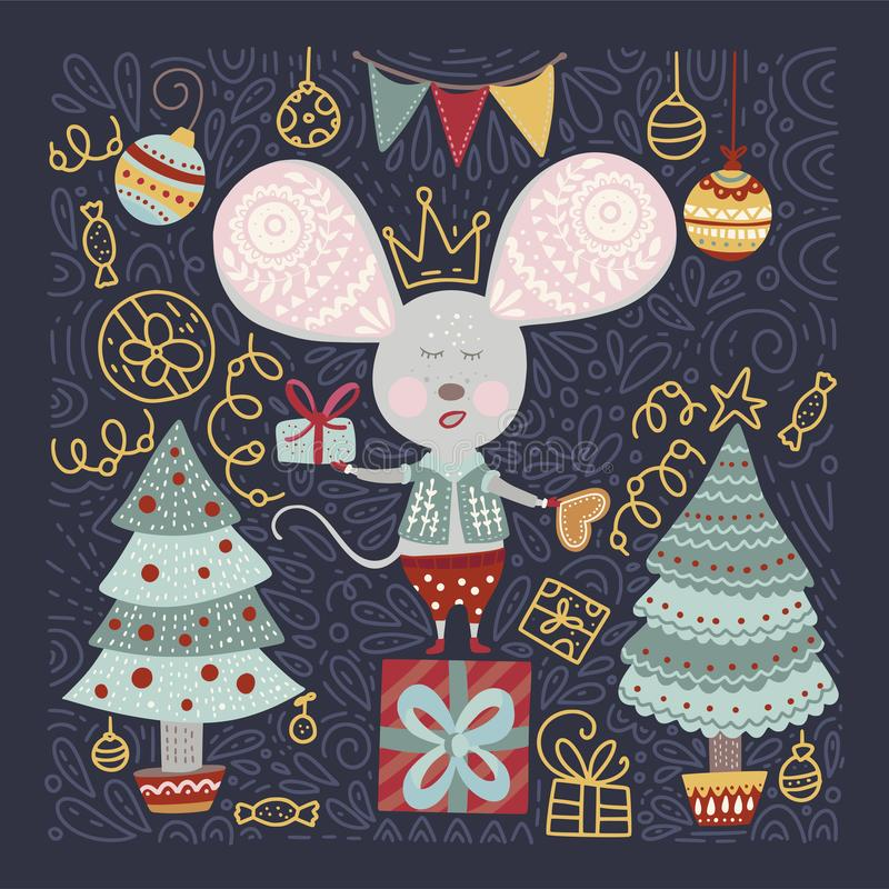 Christmas vector cartoon mouse in a flat style. royalty free stock image