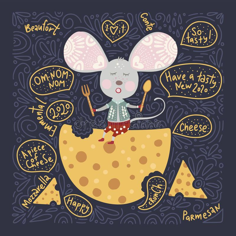 Christmas vector cartoon mouse in a flat style. royalty free stock photos