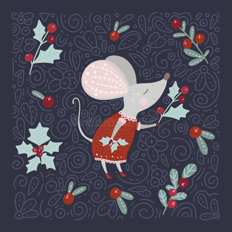 Christmas vector cartoon mouse in a flat style. stock photography