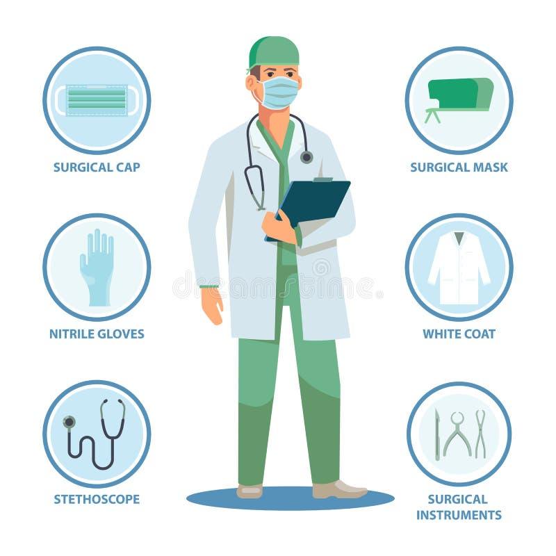 Chirurg of arts met geïsoleerde punten voor het werk stock illustratie