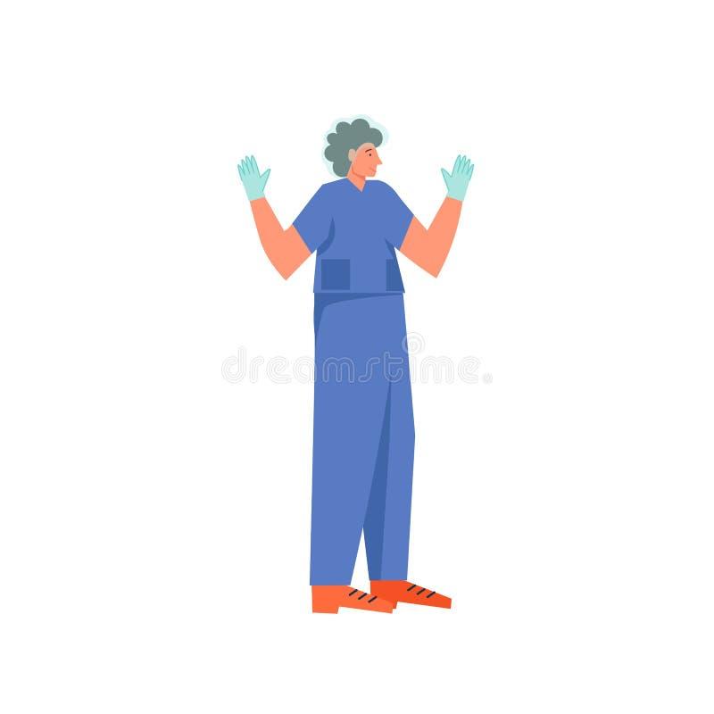 Chirurg gotowy dzia?a?, wektorowa mieszkanie stylu projekta ilustracja royalty ilustracja