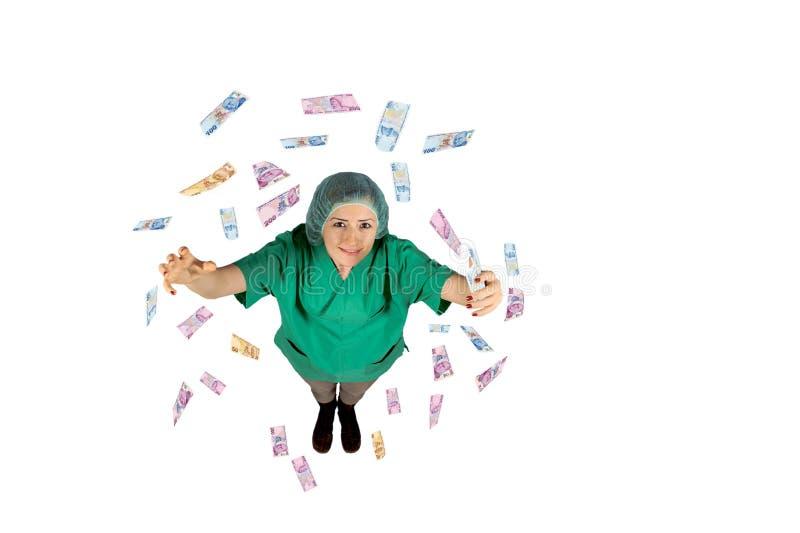 Chirurg lata Tureckiego lir odizolowywającego na białym tle prowadzi najwyższa wygrana pieniądze zdjęcie royalty free