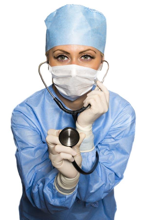 Chirurg met de stethoscoop stock afbeelding