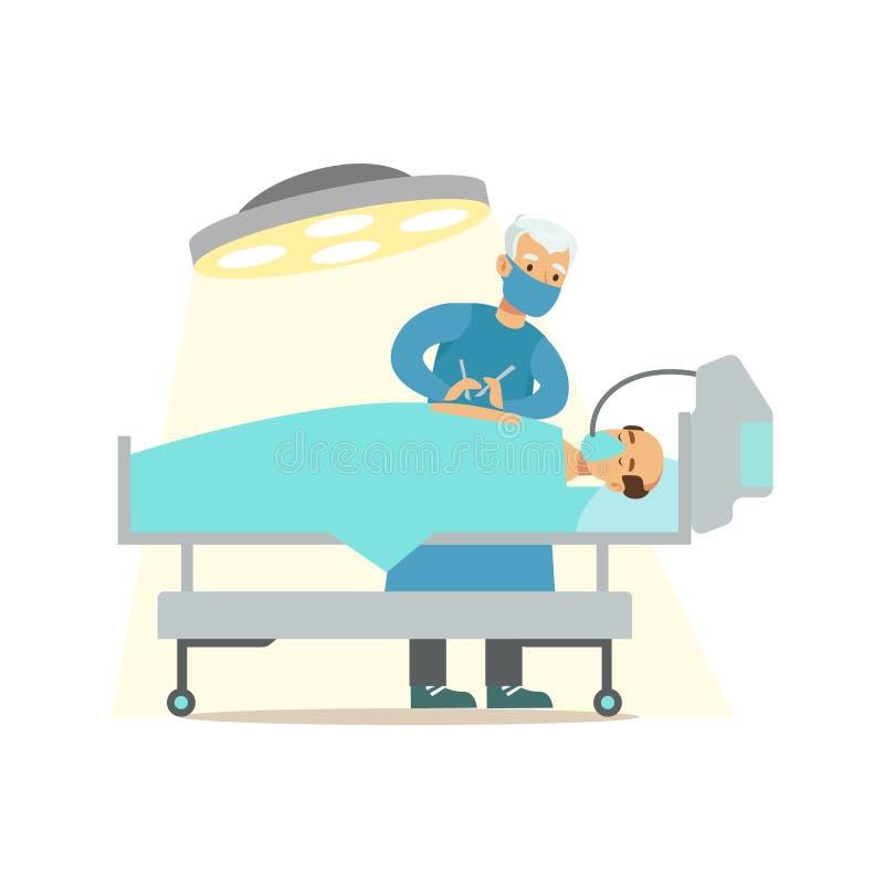 Chirurg-Operating On Unconcious-Patient im Chirurgie-Raum, im Krankenhaus und in der Gesundheitswesen-Illustration lizenzfreie abbildung