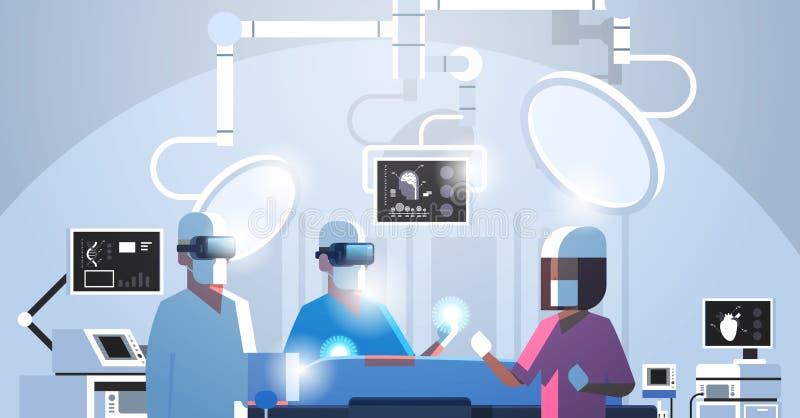 Chirurga zaopatrzenie medyczne jest ubranym rzeczywistość wirtualna hololens holograficznych szkła działa cierpliwego zaawansowan ilustracji