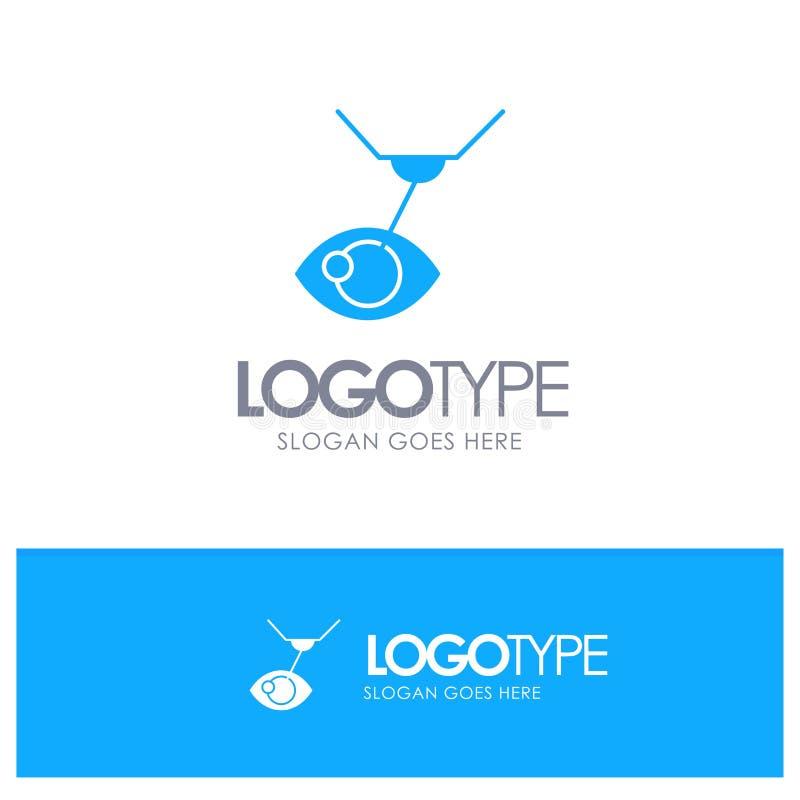 Chirurgia oka, obróbka oczu, operacje laserowe, niebieskie niebieskie logo z miejscem na slogan ilustracja wektor