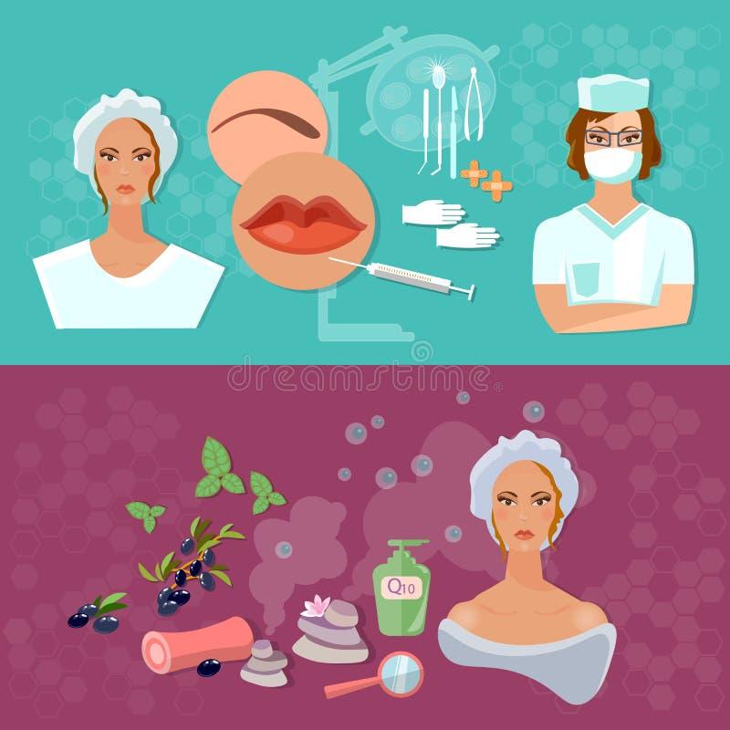 Chirurgia plastica di cura di pelle delle insegne di bellezza delle donne illustrazione vettoriale
