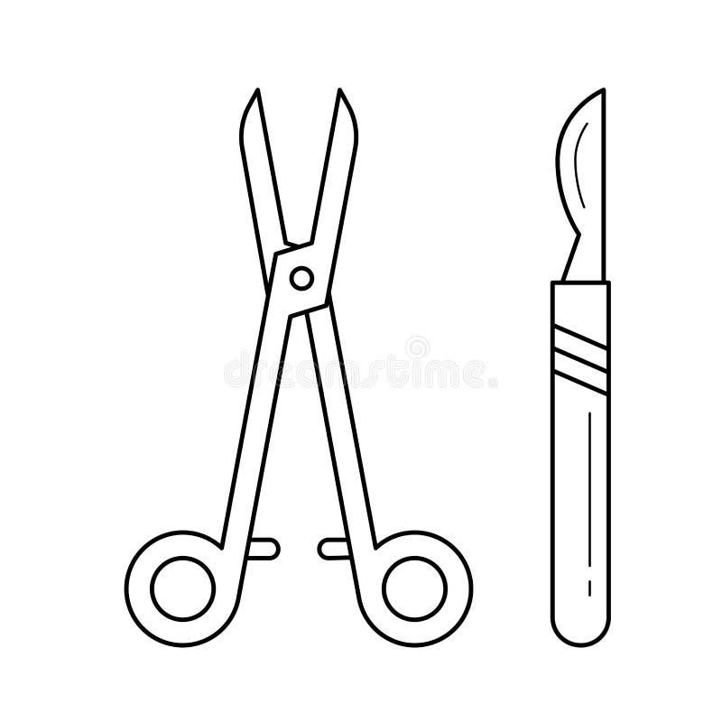 Chirurgicznie instrumentów kreskowa ikona ilustracji
