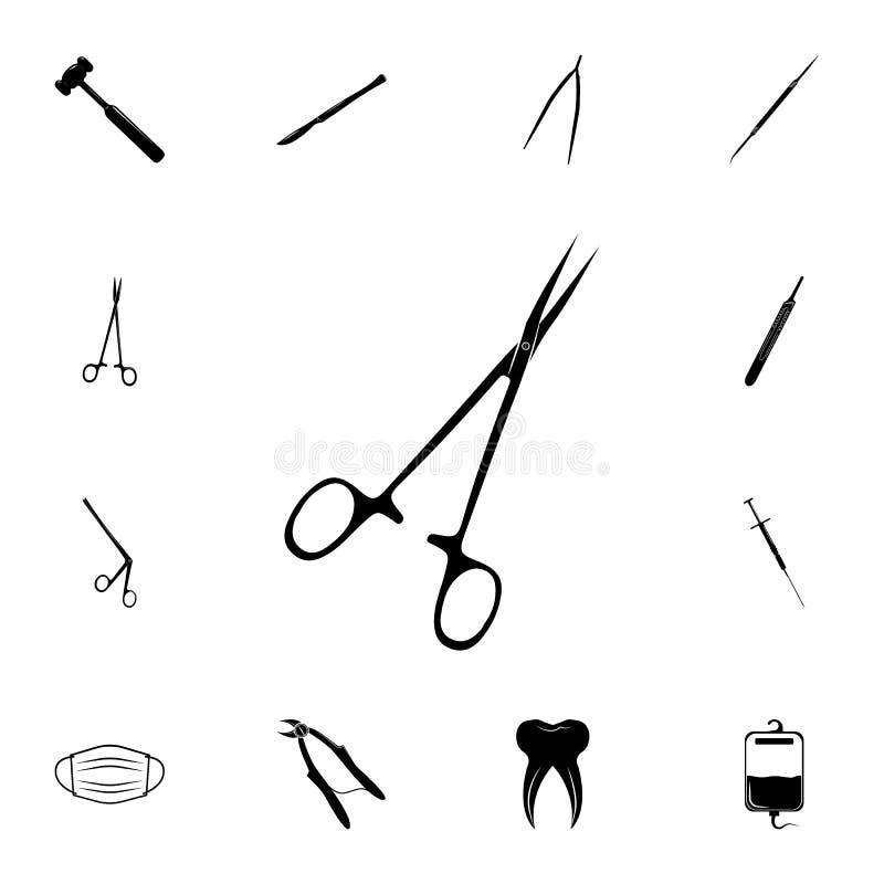 Chirurgicznie nożyce ikona Szczegółowy set medycyn ikony Premii ilości graficznego projekta znak Jeden inkasowe ikony dla websi royalty ilustracja