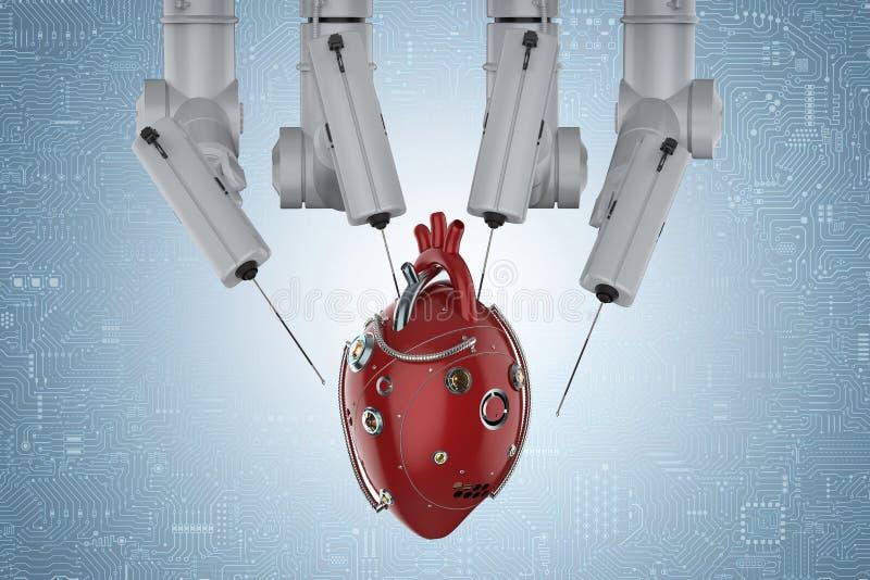 Chirurgie de robot avec le coeur robotique illustration libre de droits
