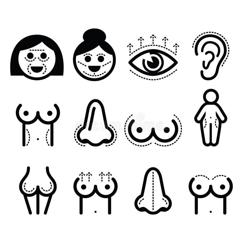 Chirurgie plastique, icônes de beauté réglées illustration libre de droits
