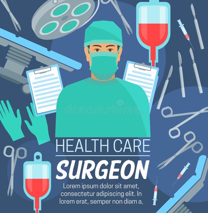 Chirurgiegesundheitszentrum, Chirurg in der Maske lizenzfreie abbildung