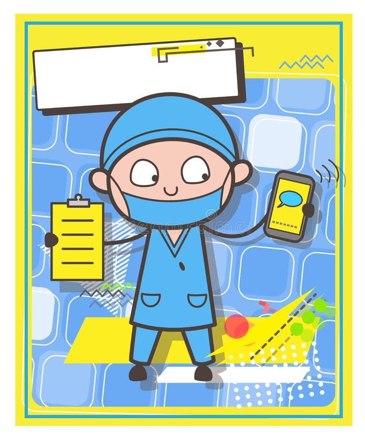 Chirurgien avec le carton et le Smartphone - concept de vecteur de courrier ou de contactez-nous illustration libre de droits
