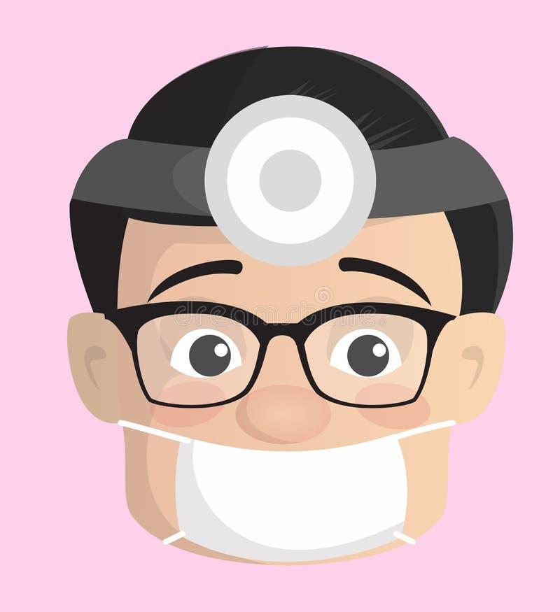 Chirurgien neurologique Face de bande dessinée avec le vecteur léger de masque et de tête illustration de vecteur