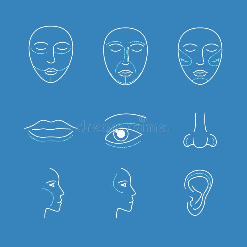 Chirurgii Plastycznej twarzy ikony Cienieją linia set wektor royalty ilustracja